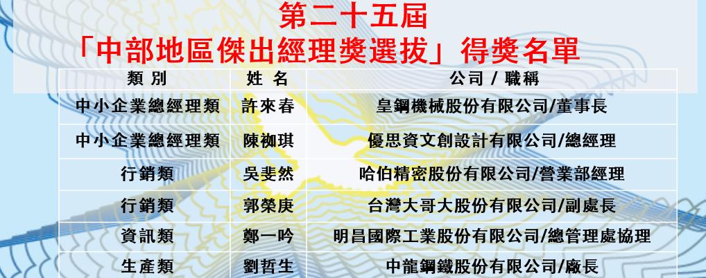 第二十五屆「中部地區傑出經理獎選拔」得獎名單